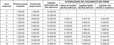 Esempio di tabella per il calcolo di un finanziamento