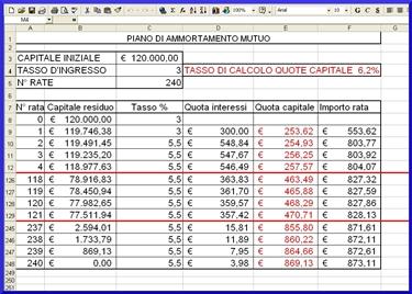 Esempio di calcolo tramite foglio Excel